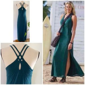 Athleta Teal Green Criss Back Knotted Nanda Dress
